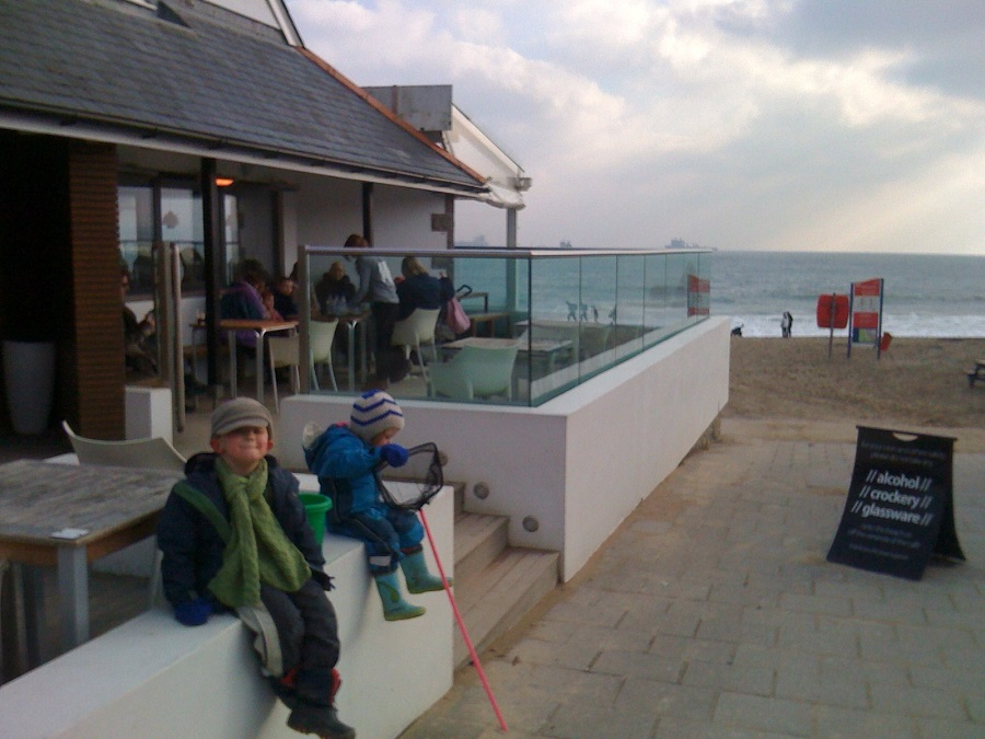 Family friendly Gylly Beach Cafe is an ideal place to stop for a hot chocolate