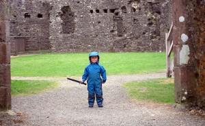 Sam-guarding-the-entrance-to-Restormel-Castle