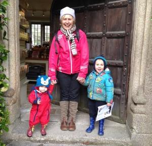 Nanny Pat at Lanhydrock with Sam and Jasmine.
