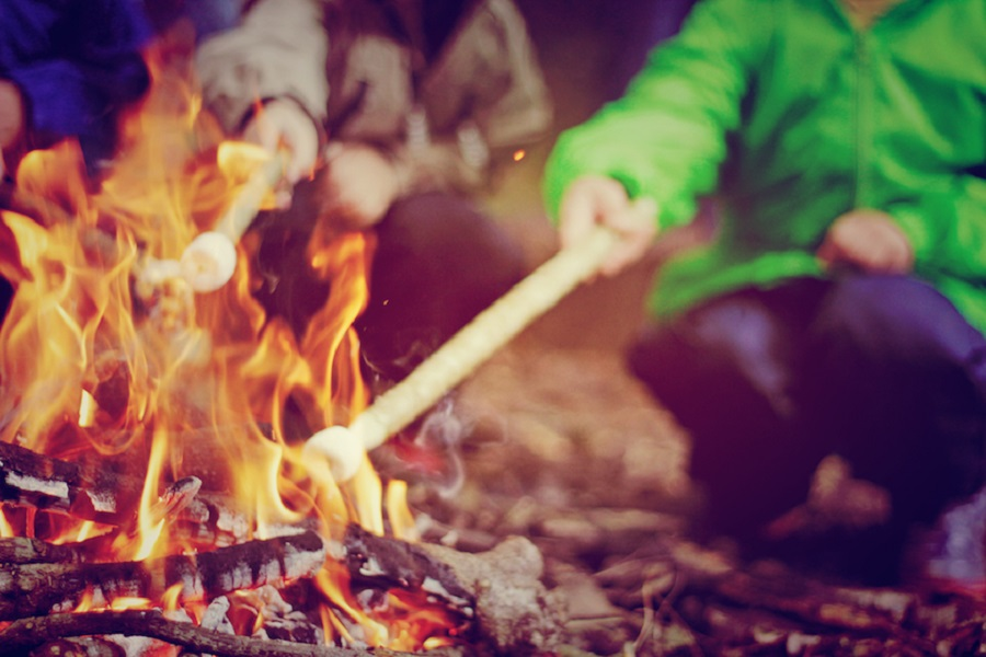 Toasting marshmallows is one of the many toddler friendly activities on offer at Bosinver's Wild Kids club