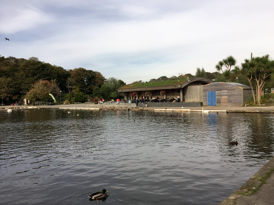 Coronation Lake has a cafe and a good playground ideal for a child friendly day out in Cornwall