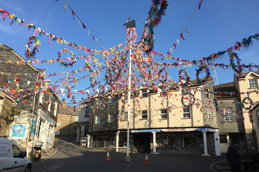 The Maypole in Padstow, Cornwall, Obby Oss Day