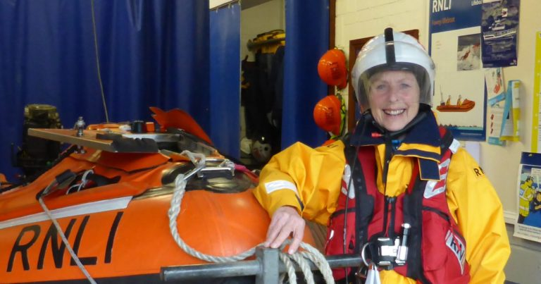Pat Smith, aka Action Nan promoting her walk in full RNLI kit before her walk