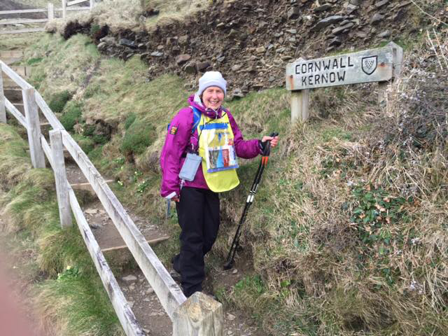 Pat begins her walk at the Devon / Cornwall border