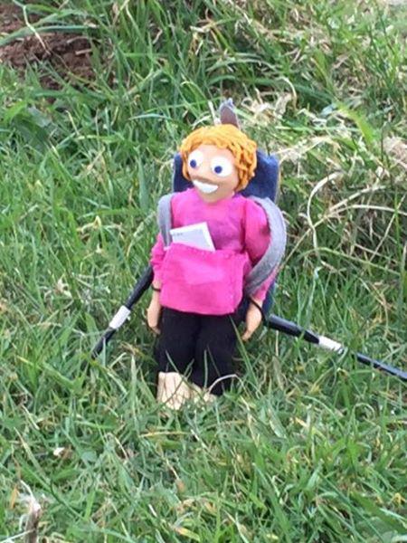 Pat's Action Nan doll kept her company along the way