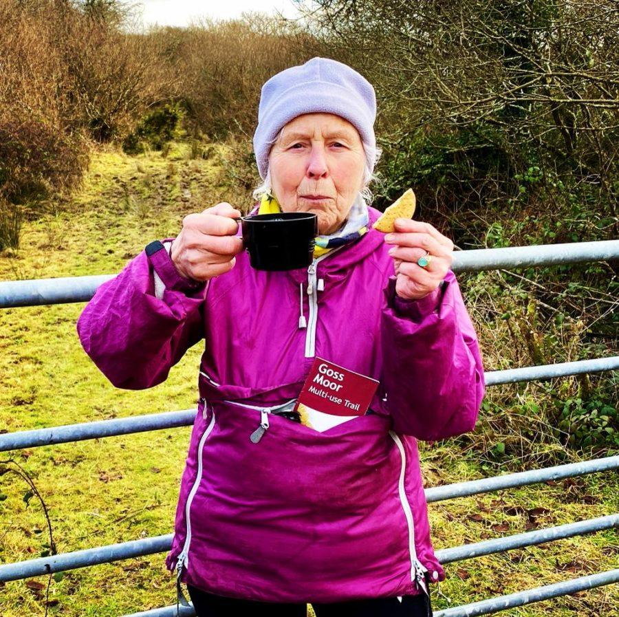 Pat aka Action Nan on the Goss Moor Trail in Cornwall