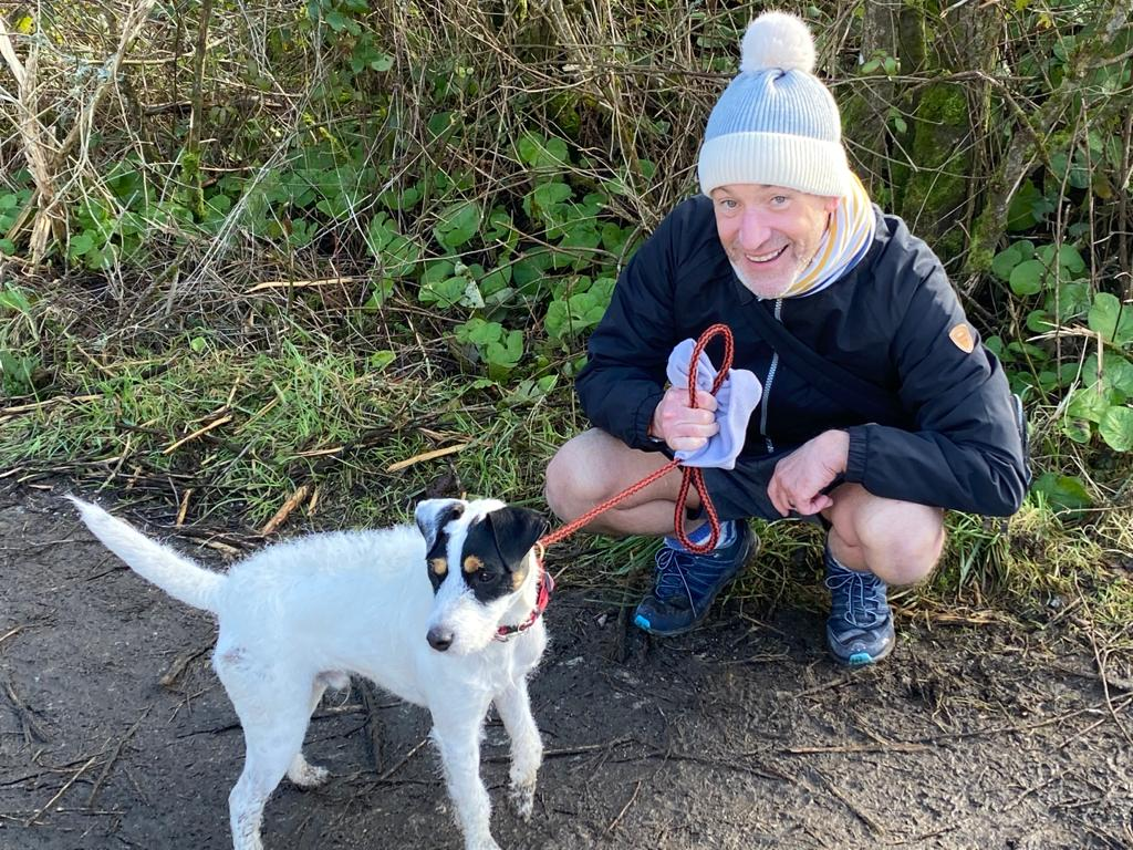 Stan and my friend on the Goss Moor Trail in Cornwall