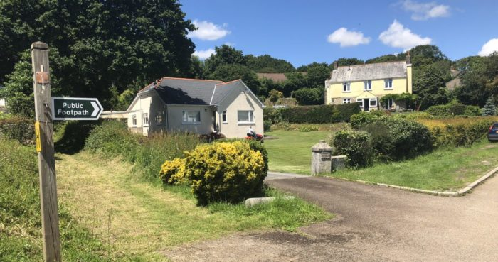 A footpath near Bosinver Farm Cottages in Cornwall
