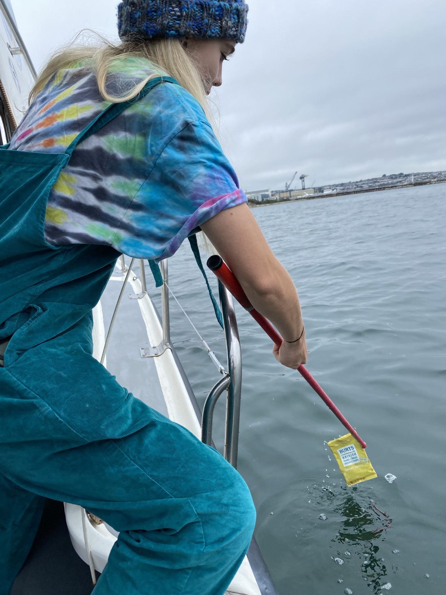 Emily of Beach Guardian trawling for microplastics