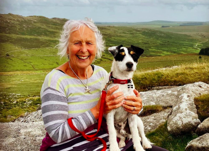 Pat aka Action Nan, Bosinver at Roughtor on Bodmin Moor in Cornwall with Stan her Jack Russell terrier